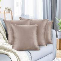 """Nestl Bedding Throw Pillow Cover 20"""" x 20"""" Soft Square Decorative Throw Pillow Covers Cozy Velvet Cushion Case for Sofa Couch Bedroom, Set of 4, Taupe Sand"""
