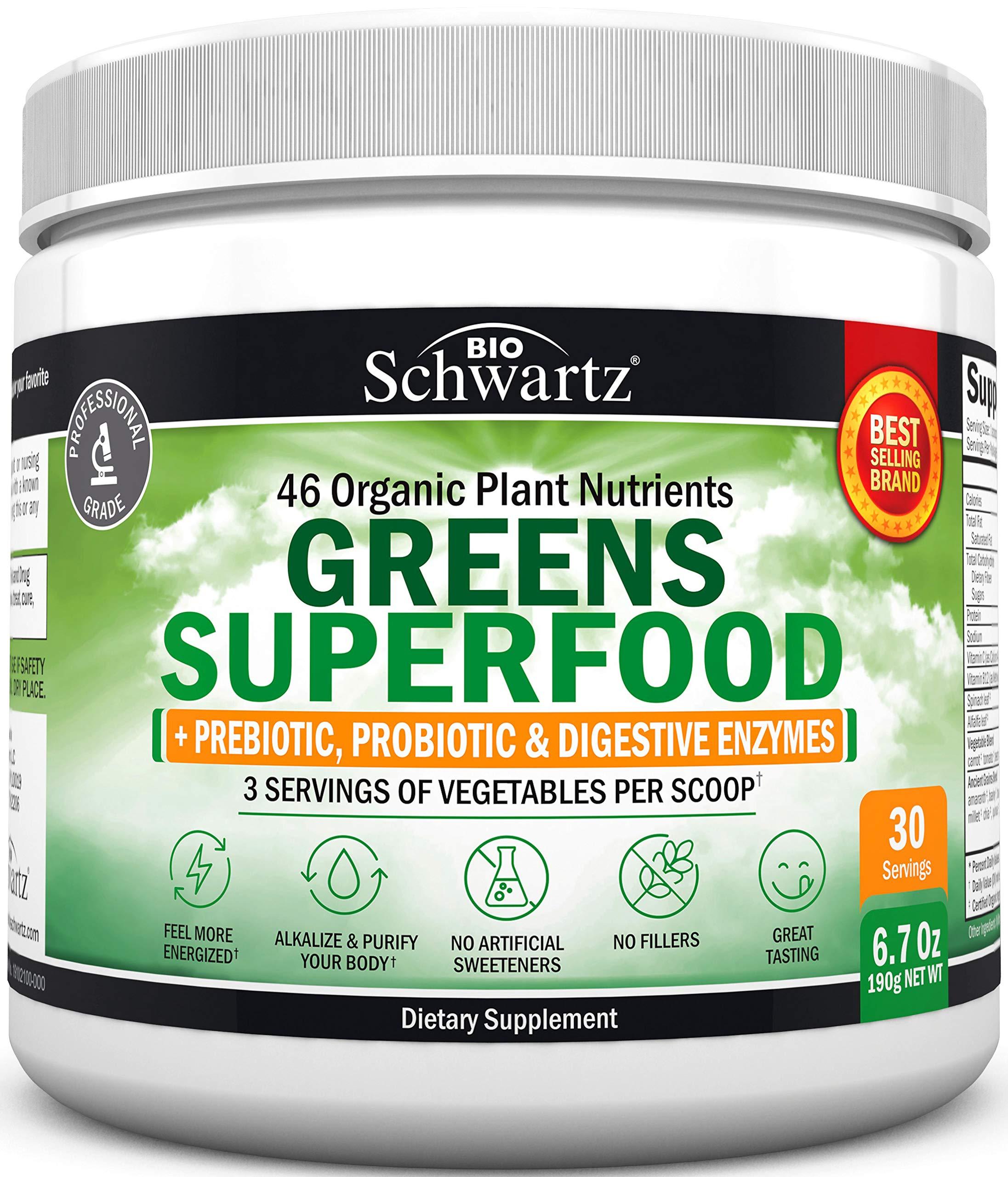 Super Greens Powder - 3 Servings of Veggies per Scoop   45+ Organic Green Superfoods (Alfalfa, Chlorella, Spirulina & More) + Digestive Enzymes - Keto Friendly Vegan Supplement