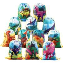12 PCS Kids Party Favor Bags for Birthday Party Gift Package,Dinosaur Drawstring Bag Cartoon Party Favor Bag,Dinosaur Goody Bag Gift Pouch for Kids Boys and Girls Party