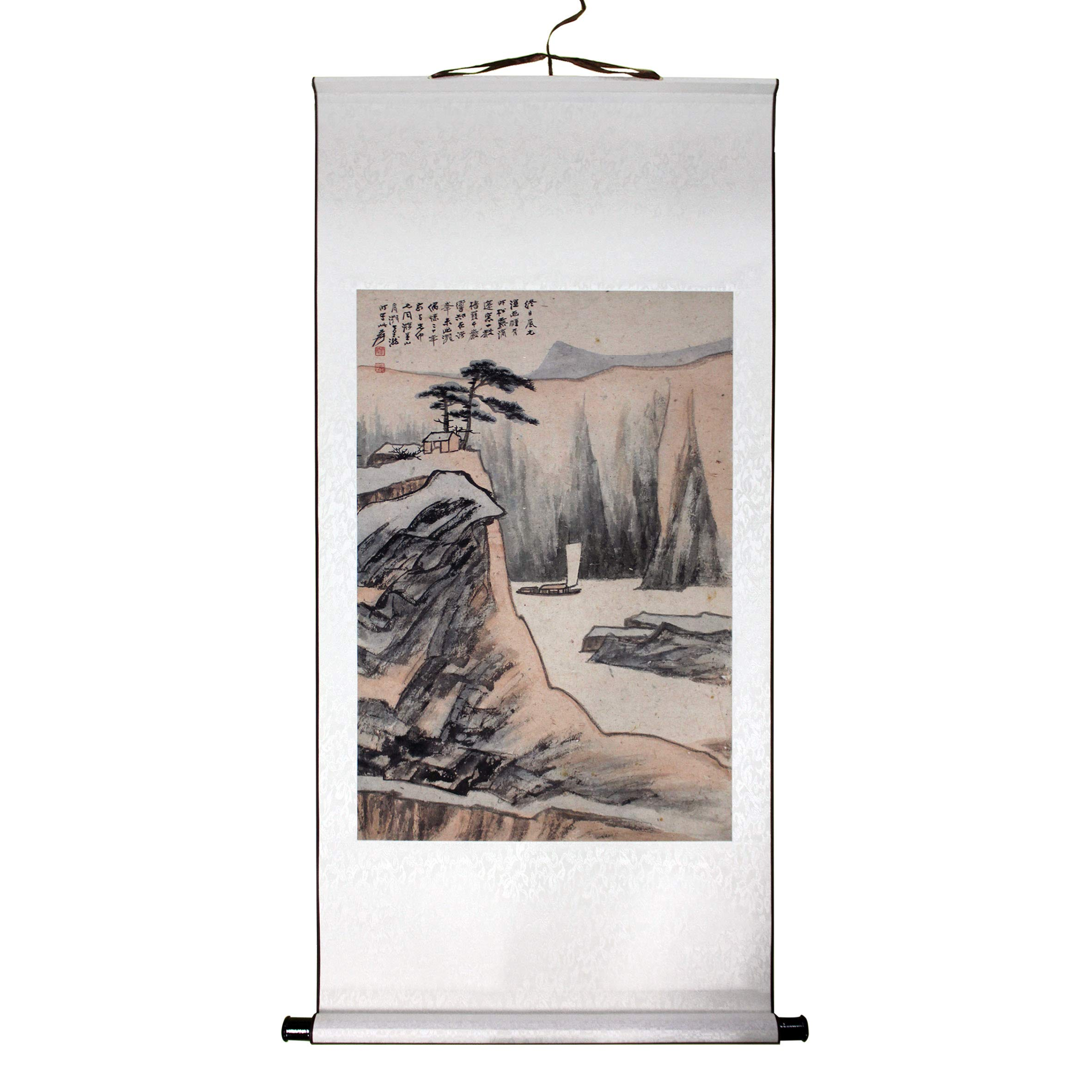 """Mountain and Water Imitation of Shitao's Style by Zhang Daqian, Chinese Painting Print on Rice Paper, Premium Hanging Scroll, Size 24"""" x 38"""", Painting Ready to Hang on Wall"""