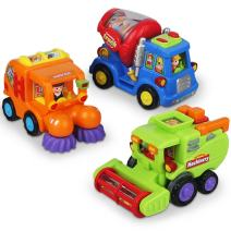 Push and Go Friction Powered Car Toys for Boys - Construction Vehicles Toys for Boys and Toddlers (Street Sweeper Truck, Cement Mixer Truck, Harvester Toy Truck) by Ciftoys