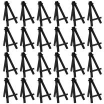 "U.S. Art Supply 5"" Mini Black Wood Display Easel (Pack of 24), A-Frame Artist Painting Party Tripod Easel - Tabletop Holder Stand for Small Canvases, Kids Crafts, Business Cards, Signs, Photos, Gifts"