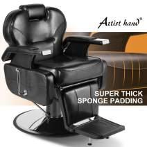 Artist Hand Barber Chair Hydraulic Recline Barber Chairs Salon Chair for Hair Stylist Tattoo Chair Heavy Duty Barber Salon Equipment (Black)