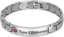 Elegant Surgical Grade Steel Medical Alert ID Bracelet for Men and Women (Men's, Type 1 Diabetes)