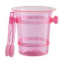 Exquisite 1.5 Quart Hard Plastic Ice Bucket With Tongs- 6 Count- Cerise