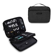 """BAGSMART 3-Layer Travel Electronics Cable Organizer with Bag for 9.7"""" iPad, Hard Drives, Cables, Charger, Kindle, Black"""