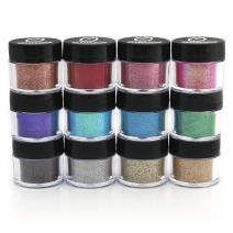 GLITTIES - Cosmetic Grade Glitter Powder Kit (12 Pk) - A Mix of Extra Fine & Fine Glitter Powder Safe for Skin! Loose Glitter for Makeup, Nails, Tattoos, Face, Lips, Nail Art (10 Gram Jars)