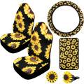 Boao Sunflower Accessories for Car Sunflower Steering Wheel Cover with Sunflower Front Seat Covers, 2 Pieces Car Vent Sunflower and Center Console Armrest Pad Cover