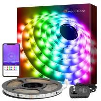 Moobibear 16.4ft DreamColor Smart LED Strip Lights Kit 150 Brighter 5050 LED Light Strip Phone App Bluetooth Controlled Color Changing Waterproof Rope Light for Party Room TV Kitchen Cabinet
