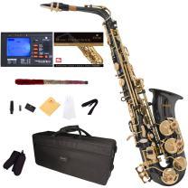 Mendini by Cecilio Eb Alto Sax w/Tuner, Case, Mouthpiece, 10 Reeds, Pocketbook and 1 Year Warranty, MAS-BK Black Lacquer E Flat Saxophone