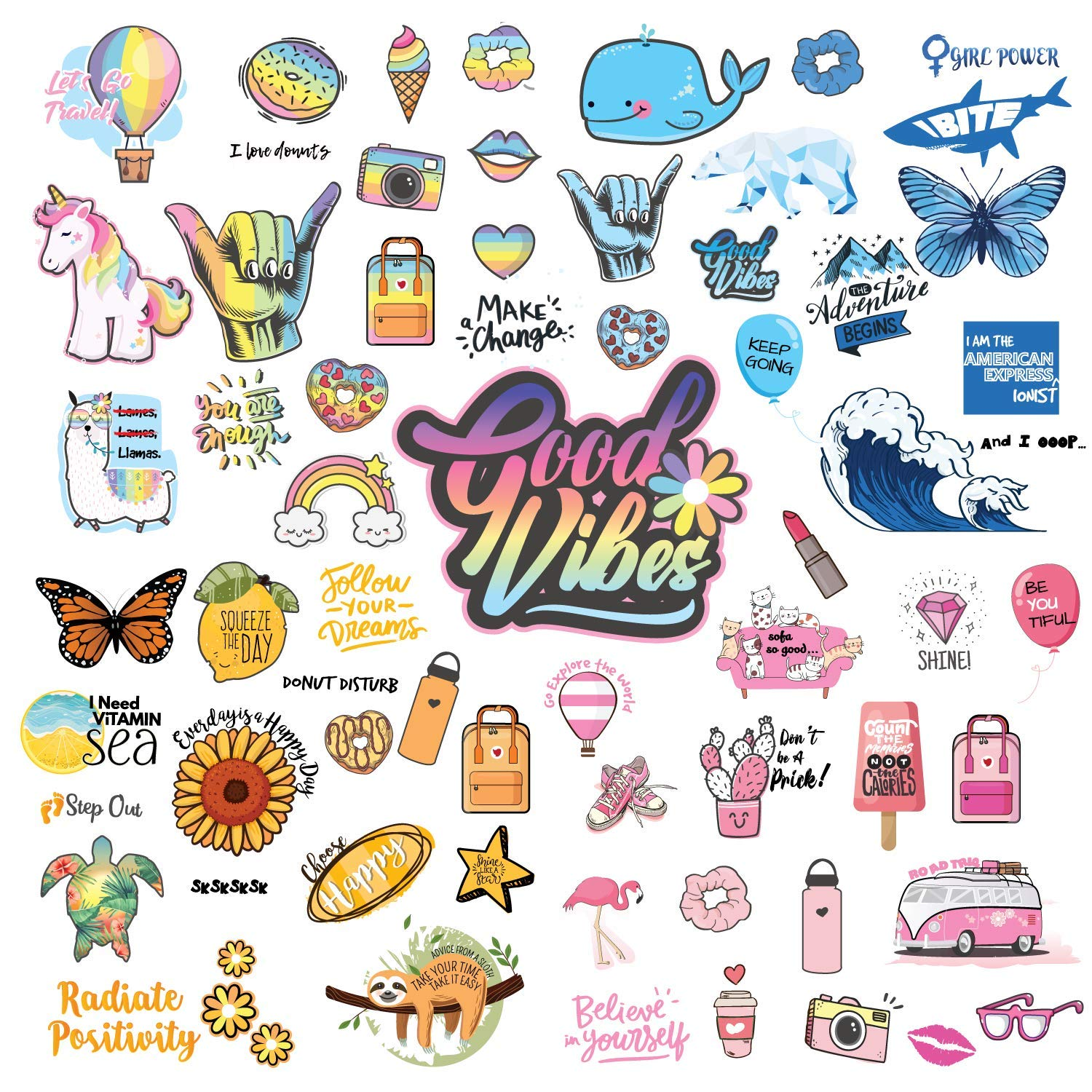 Waterproof VSCO Girl Stickers for Water Bottles | Reusable Stickers Pack of [66pcs] Cute VSCO Vinyl Stickers in Rainbow Pink Blue Yellow - Aesthetic Stickers Include Sloth Llamas Unicorn Stickers