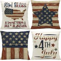 Allorry 4th of July Pillow Covers 16x16,4th of July Decorations,American Flag Patriotic,Independence Day Cushion Case for Sofa, Couch, Bedroom Home Decoration Set of 4