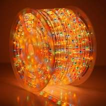 Wintergreen Lighting 150' Incandescent Multicolor Rope Light Kit – Light Rope Outdoor, Christmas Light Rope Light Color – Includes Power Cord, 120V, 2-Wire (150' Spool, Multicolor)