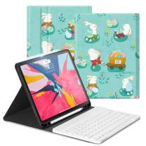 Ayotu iPad Pro 11 Keyboard Case 2018(Old Model) Detachable Wireless Keyboard[Support Apple Pencil Charging]- Ultra Slim PU Leather Stand Cover with Auto Sleep/Wake for iPad Pro 11'' 2018,Happy Rabbit