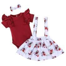 Newborn Girl Clothes Short Sleeve Romper Tutu Skirt Set Baby Girl Dress with Bowknot Headband 0-3 Months