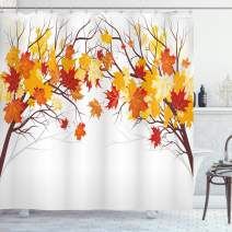 """Ambesonne Fall Shower Curtain, Image of Canadian Maple Tree Leaves in Autumn Season with Soft Reflection Effects, Cloth Fabric Bathroom Decor Set with Hooks, 75"""" Long, Orange White"""