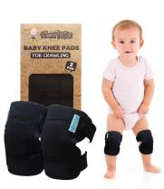 Baby Knee Pads for Crawling (2 Pairs) | Protector for Toddler, Infant, Girl, Boy (Pure Black)