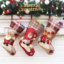 """Aiduy 3 Pack 18"""" Christmas Stockings Decoration with Cute 3D Plush Santa Snowman Reindeer Xmas Stockings Ornament Gifts for Christmas Decorations and Family Holiday Party Decor"""