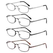 Metal Reading Glasses for Men Women 4 Mix Color Spring Hinge Lightweight Readers