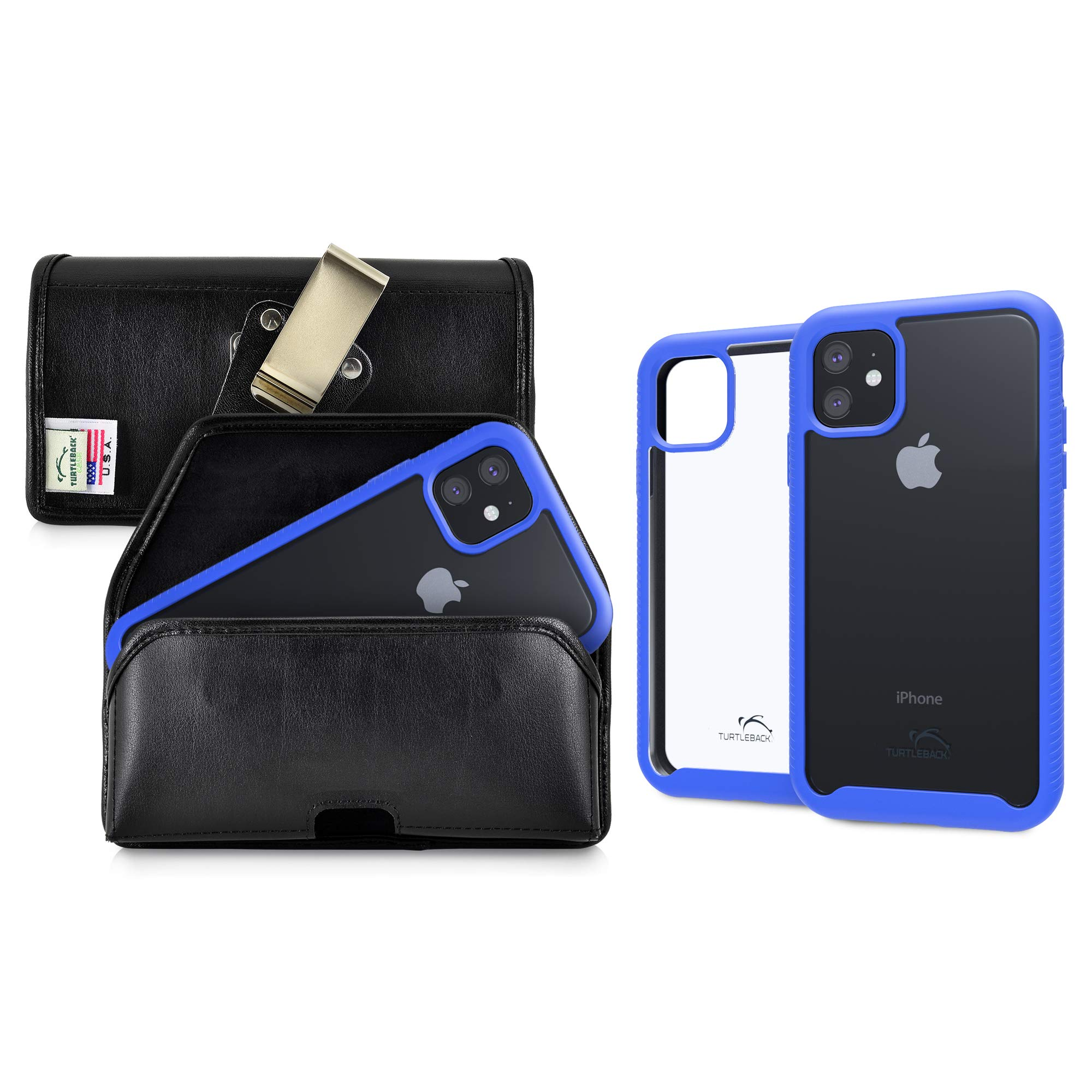 Turtleback Tough Defense Case/Pouch Combo Designed for New iPhone 11 (2019) 6.1 Inch, Military Grade Drop Tested Ultra Clear Back, Fitted in Leather Holster, Rotating Clip-Horizontal/Blue