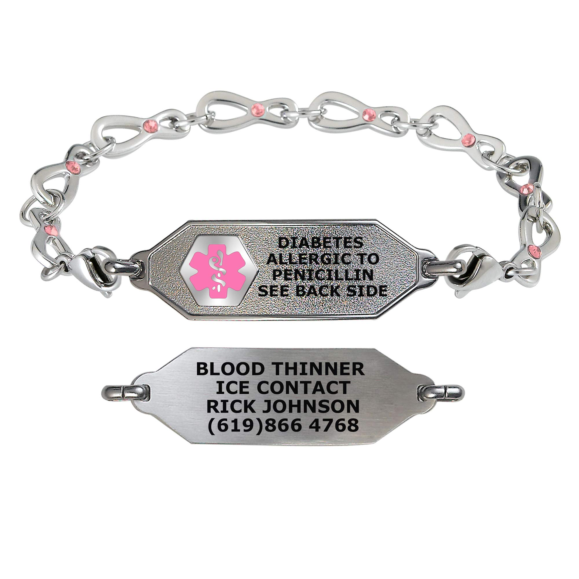 Divoti Custom Engraved Medical Alert Bracelets for Women, Stainless Steel Medical Bracelet, Medical ID Bracelet w/Free Engraving – Small Classic Tag w/Infinity Rose Crystal Chain – Color/Size
