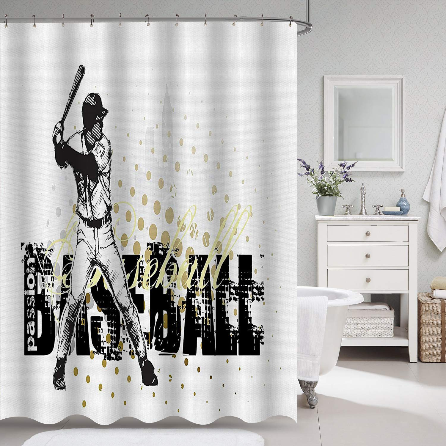 """VVA Baseball Batter Fabric Shower Curtain, Sports Graphic with Dots and Grunge Dark Lettering Background, Batting Team Game, Cloth Decor Set with Hooks for Bathroom, 72"""" Long, Black Yellow White"""