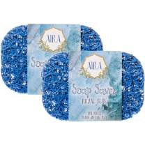 Aira Soap Saver - Soap Dish & Soap Holder Accessory - BPA Free Shower & Bath Soap Holder - Drains Water, Circulates Air, Extends Soap Life - Easy to Clean, Fits All Soap Dish Sets- Royal Blue Two Pack