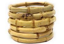 Sidecca Tiki Pinup Natural Bamboo Bangle Bracelet Set
