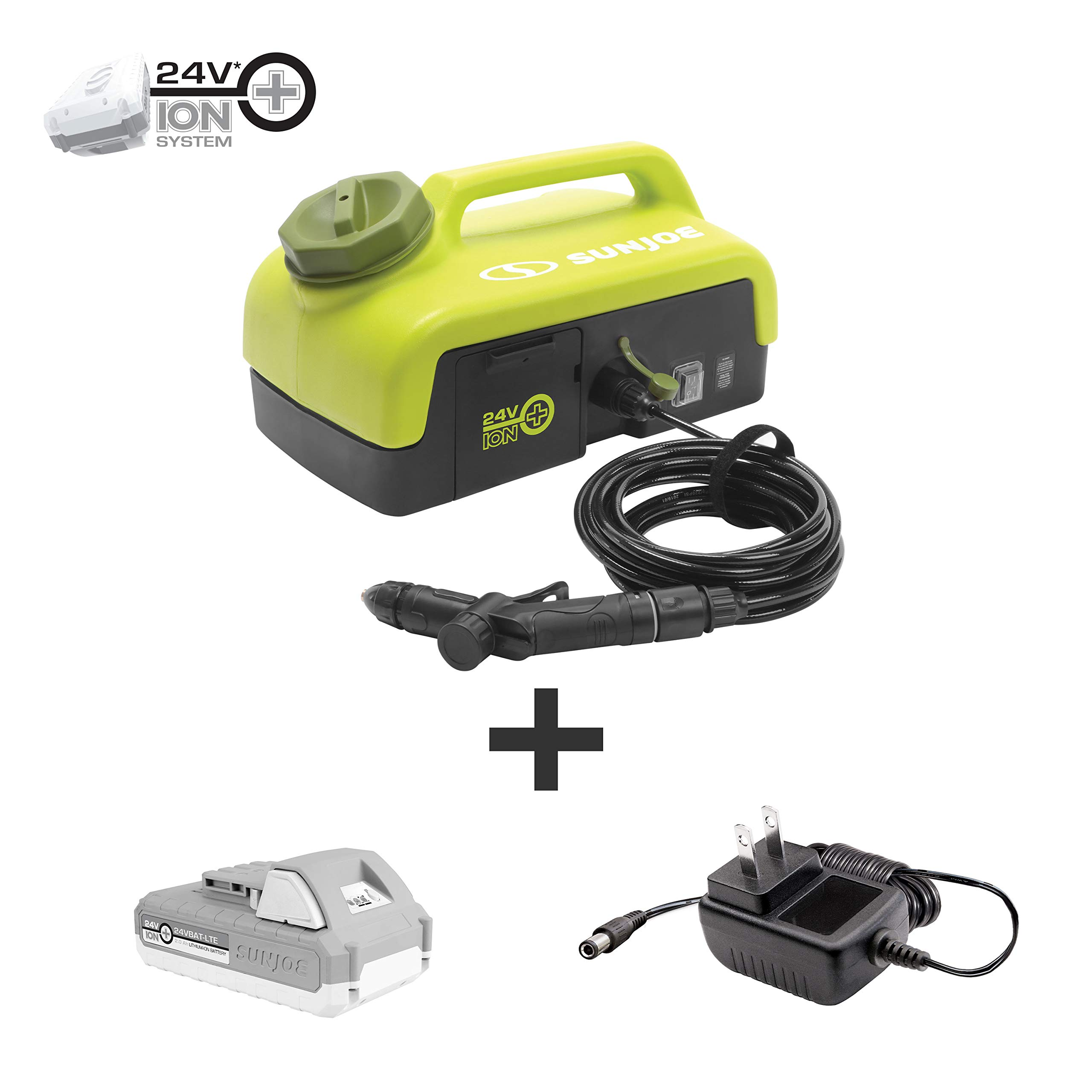 Sun Joe 24V-PSW25 Spray Washer, Kit (w/2.0-Ah Battery + Quick Charger)