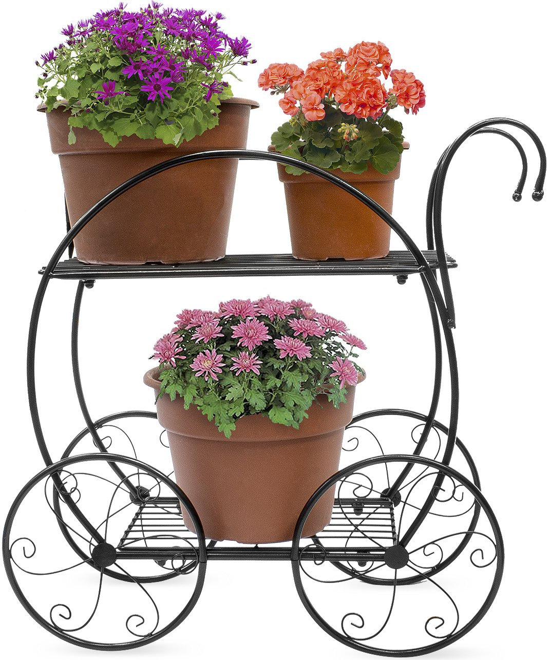 Sorbus Garden Cart Stand & Flower Pot Plant Holder Display Rack, 2 Tier Circular Frame, Parisian Style - Perfect for Home, Garden, Patio (Black)