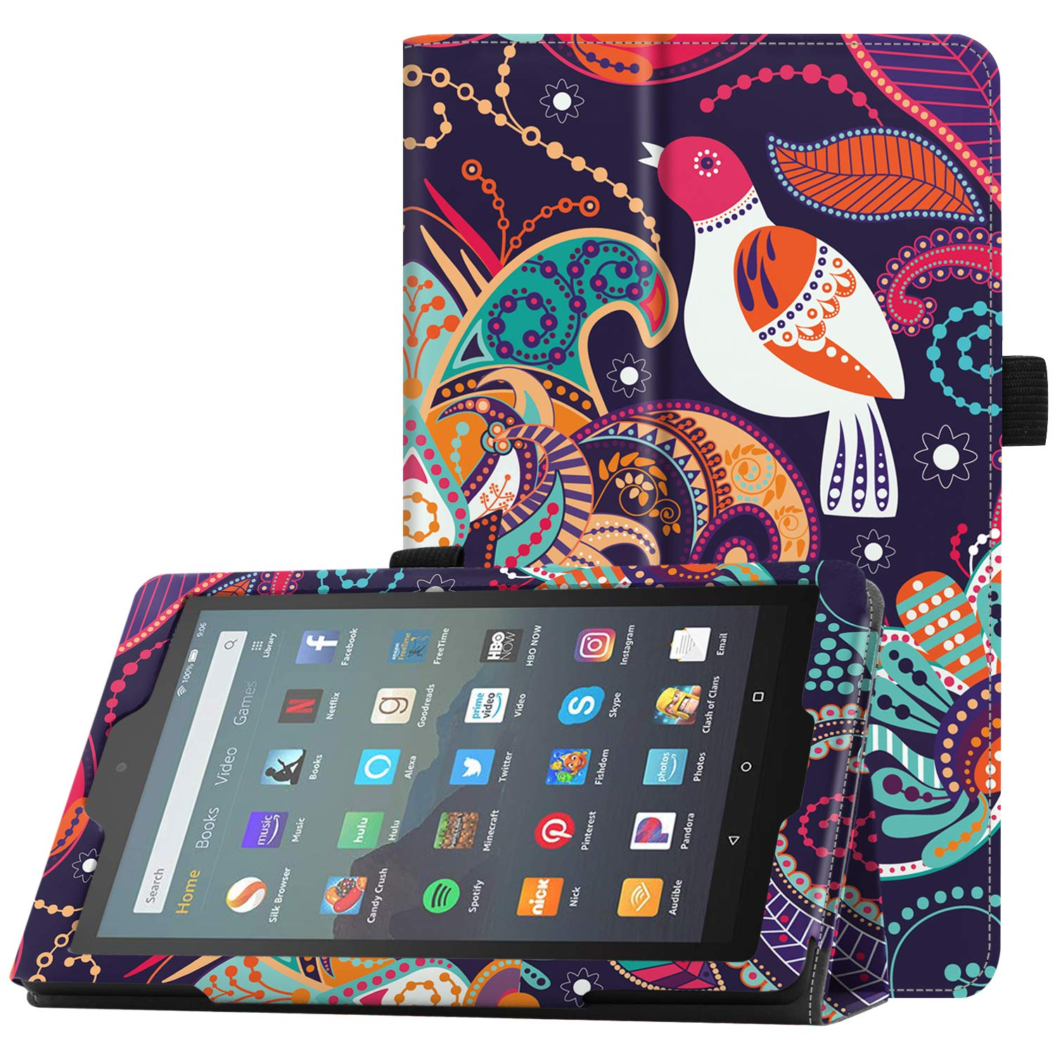 "Famavala Folio Case Cover Compatible with 7"" Amazon Kindle Fire 7 Tablet (9th Generation, 2019 Release) (TreeBird)"