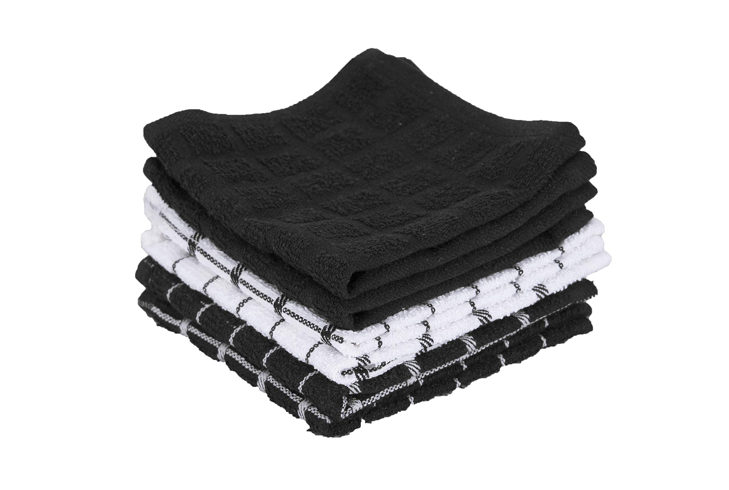 """Ritz 100% Terry Cotton, Highly Absorbent Dish Cloth Set, 12"""" x 12"""", 6-Pack, Black"""