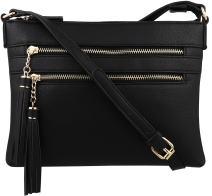 B BRENTANO Vegan Multi-Zipper Crossbody Handbag Purse with Tassel Accents