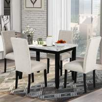 P PURLOVE 5 Piece Dining Table Set Faux Marble Style Dining Room Table and 4 Chairs Marble Stickers MDF Top Table and 4 Thicken Cushion Dining Chairs for 4 Persons, White/Beige
