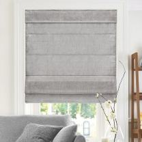 "CHICOLOGY Cordless Roman Shades Cross-Hatched Modern Fabric Cascade Window Blind Treatment Belgian Denim (Privacy & Light Filtering) 33""W X 64""H"