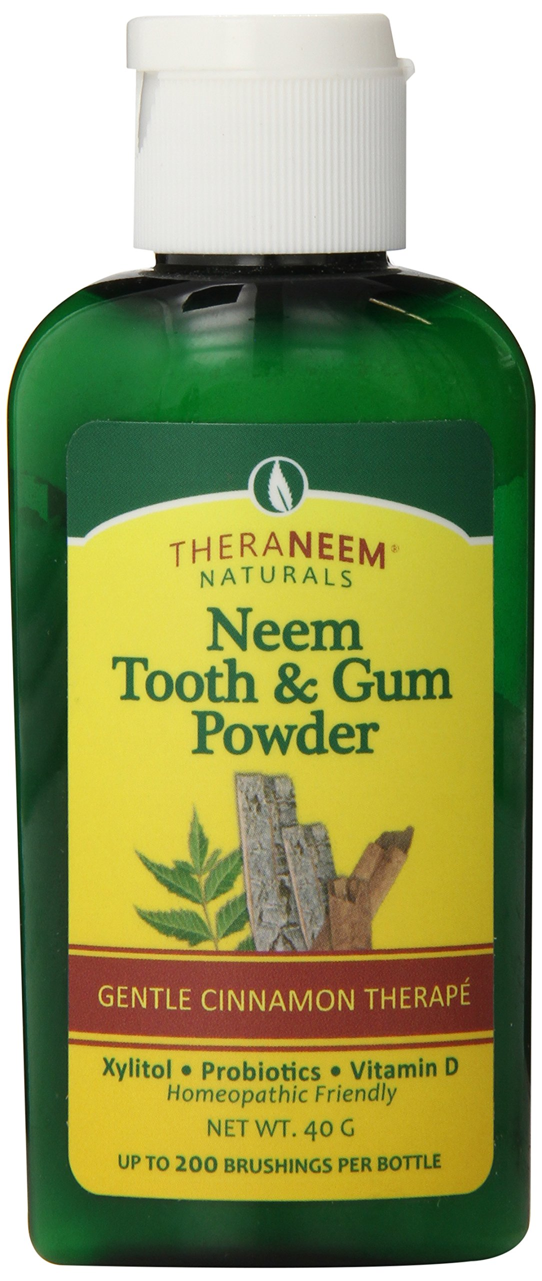 TheraNeem Tooth and Gum Powder   Supports Healthy Teeth/Gums with Probiotics, Vitamin D   Cinnamon   40 grams, 200 Uses