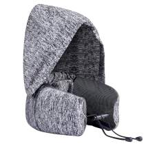 Homitt Multifunctional Travel Pillow 100% Pure Memory Foam Adjustable Neck Pillow with Hat, Portable Bag, Comfortable & Breathable Cover, Machine Washable, Airplane & Train Use (Grey)