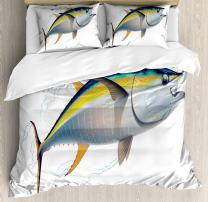 Ambesonne Fish Duvet Cover Set, Yellowfin Tuna Realistically Illustrated with Shadows and Water Details on Fins, Decorative 3 Piece Bedding Set with 2 Pillow Shams, Queen Size, Yellow Blue
