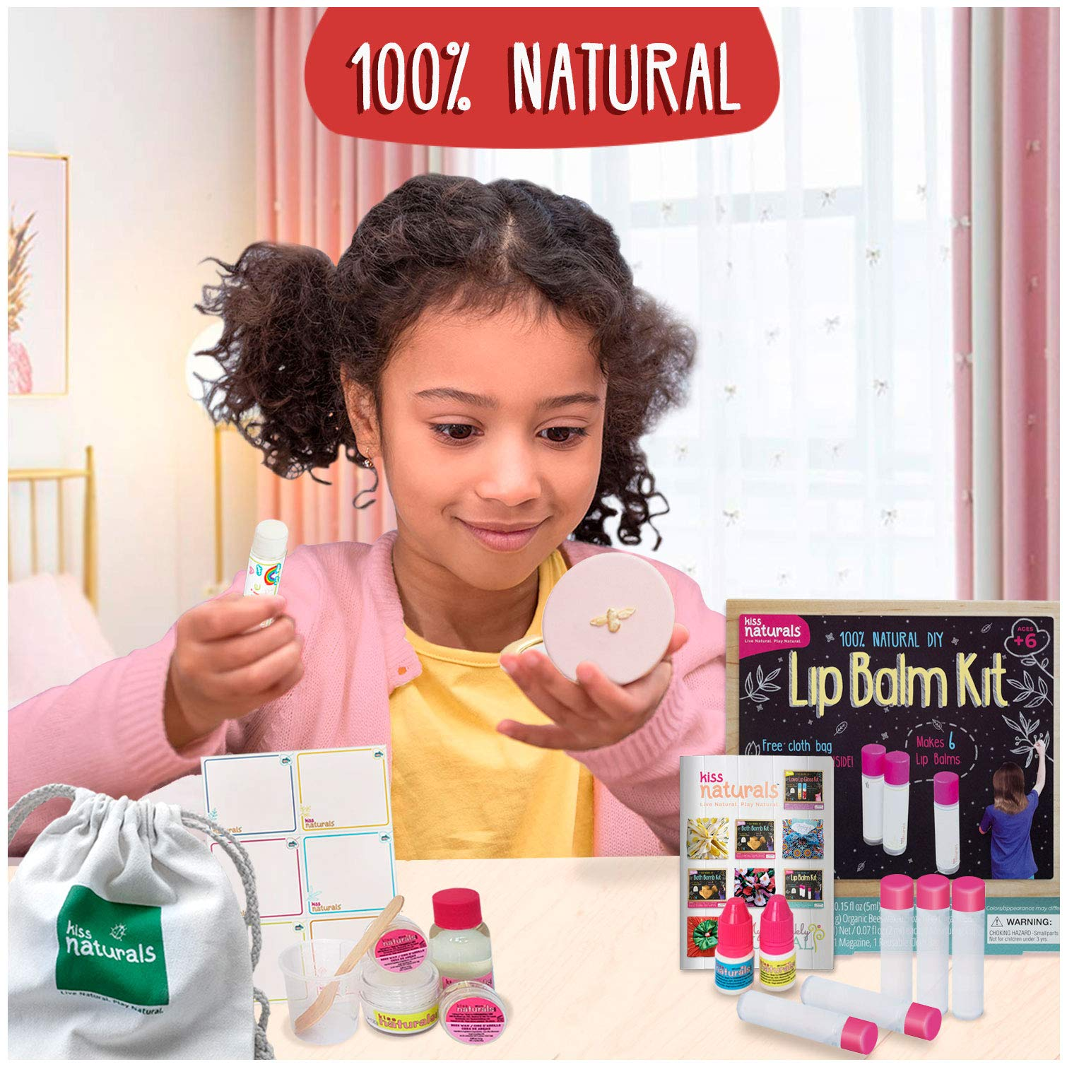 Kiss Naturals Kids Lip Balm Kit for Girls - 100% Organic Lip Balm Making Kit - Make Your Own Crafts for Girls Ages 8-12 - All Natural and Made in North America