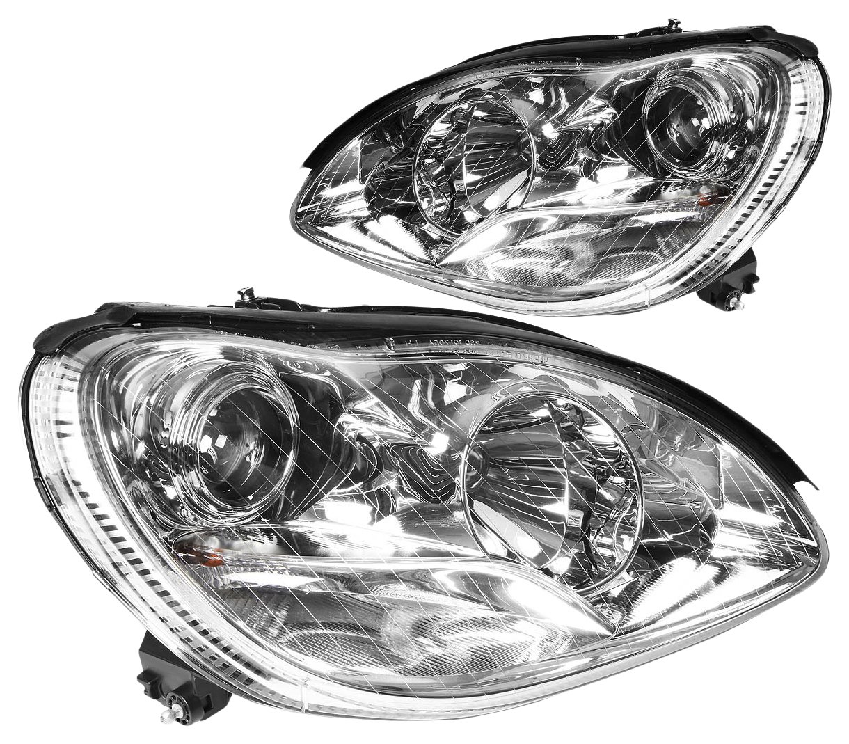 DNA Motoring HL-HPL-W22000-CH Headlight Assembly (Driver and Passenger Side),Chrome