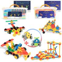 SMART WALLABY 2 x STEM Educational Toy Building Sets for Boys & Girls Ages 3-7 | 101 and 160 pc. Each with an Extra Bonus Gift + Storage Tub