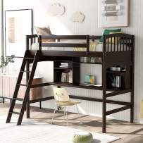 Merax Twin Size Solid Wood Loft Bed with Storage Shelves, Desk and Ladder, No Box Spring Needed, Espresso