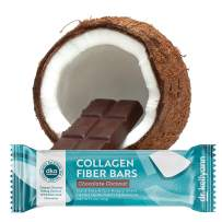 Keto Collagen Fiber Bar - High Fiber, Low Carbs - Dairy Free, Soy Free, Gluten Free, Non-GMO & No Added Sugar - Perfect Keto & Paleo Snack with Creamy Coconut Inside Dipped in Dark Chocolate (12 bars)