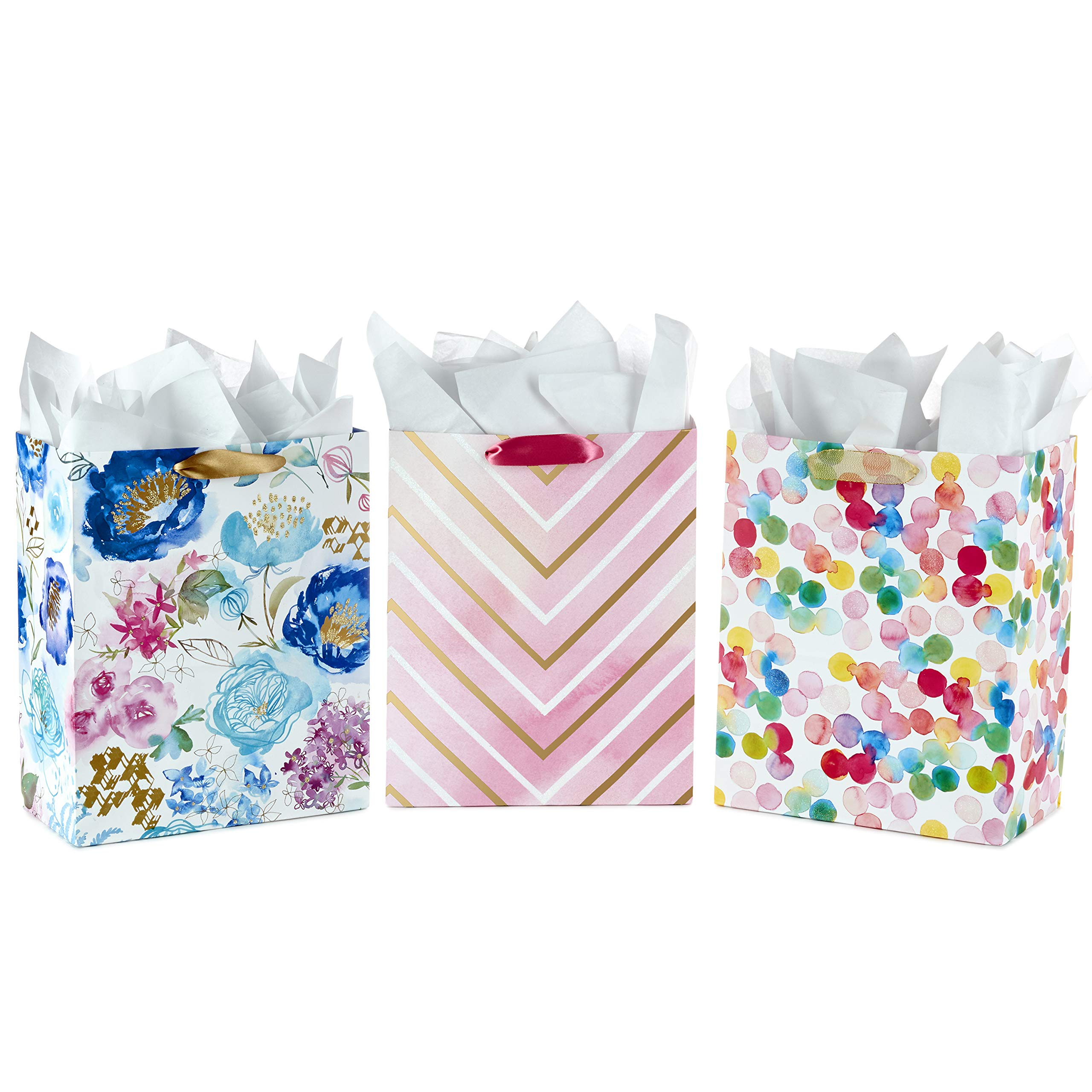 "Hallmark 13"" Large Gift Bags Assortment with Tissue Paper (Pack of 3: Floral, Chevron, Dots) for Birthdays, Mother's Day, Baby Showers, Bridal Showers, Bridesmaids Gifts, Weddings, Any Occasion"