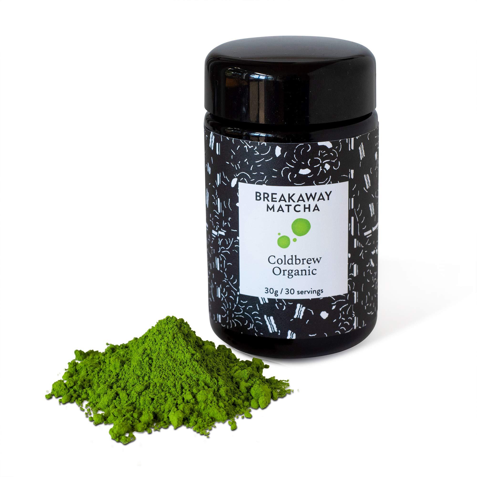 Certified Organic - Direct Farm Sourced From Japan - Breakaway Matcha Coldbrew Organic Iced Green Tea Powder - Highest Grade - Beyond Ceremonial (30g)