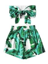 SweatyRocks Women's 2 Piece Outfits Sexy Knot Front Bandeau Crop Top with Shorts Sets