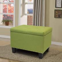 Magshion Rectangular Storage Ottoman Bench Tufted Footrest Lift Top Pouffe Ottoman, Coffee Table, Seat, Foot Rest, and More (24'', Linen Olive)