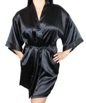 Women's Satin Kimono Bridesmaid Short Robe with Pockets - Silky Feel Modern Cut