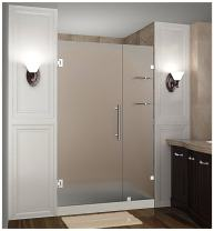 """Aston Nautis GS 48"""" x 72"""" Completely Frameless Hinged Shower Door in Frosted Glass with Shelves, Polished Chrome"""
