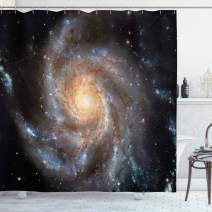 """Ambesonne Galaxy Shower Curtain, Stars in Galaxy Spiral Planet Outer Space Nebula Astronomy Theme Image Print, Cloth Fabric Bathroom Decor Set with Hooks, 84"""" Long Extra, Black Violet"""